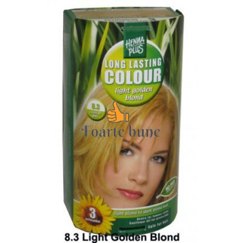 Vopsea de par femei permanenta 8.3 Light Golden Blond Hennaplus