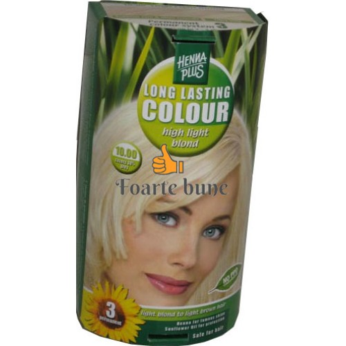 Vopsea de par femei 10.00 High Light Blond Hennaplus